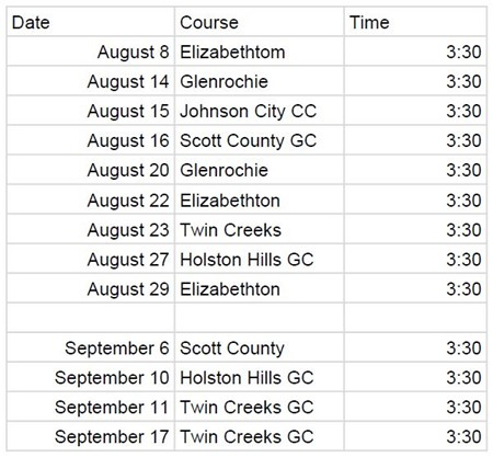 Golf schedule with dates, times, and course locations