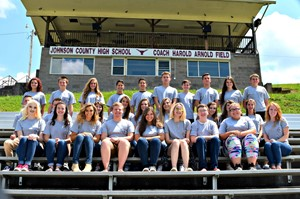 The JCHS Student Council sitting on the football bleachers